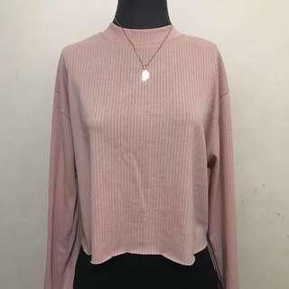 Pink Long Sleeves Crop Top