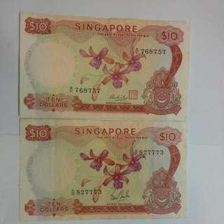 2 Singapore $10 Orchid Notes, Extra Fine Grade, 2 for $63