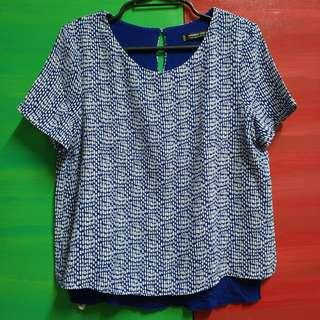Blue Round Collar Blouse with White Raindrops Pattern