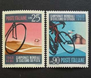 🚚 Italy 1968. Cycling World Championships complete stamp set