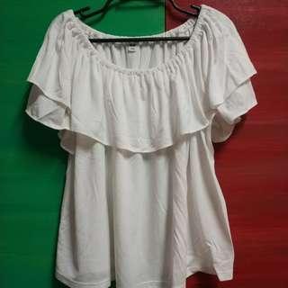 Layered Round Collar White Blouse