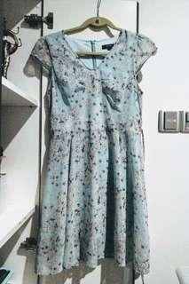 FLOWERY PASTEL BLUE NICHII DRESS SIZE M
