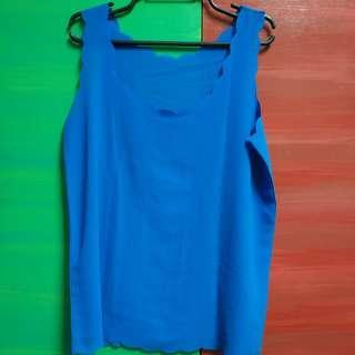 Scalloped Collar Blue Blouse