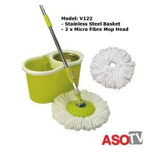 INC POST 💛 ASOTV Spin Mop Stainless Steel Basket With 2 Mop Heads