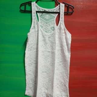 Tank Top White with Aztec Pattern