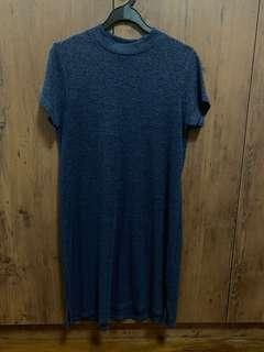 BLUE CREW NECK DRESS