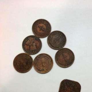 Straits Settlements Quarter Cent Coins $10 Each