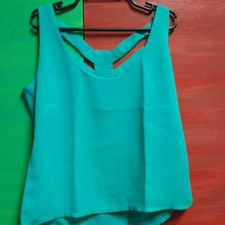 Royal Green V-neck Sleeveless Blouse with Sexy Back Geometric Cut dEtail