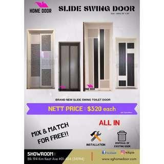 Slide Swing Aluminium Toilet Door for HDB & BTO