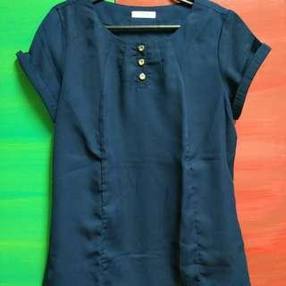 Navy Blue Blouse with Gold Colored Buttons for Office attire