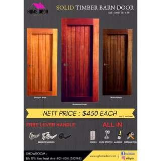 Solid Wood Timber Barn Door for HDB & BTO