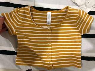 Yellow stripe crop top