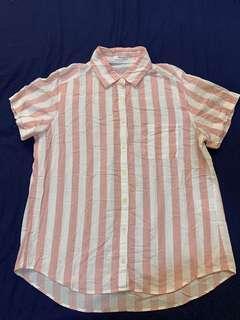 🚚 「3件500」日本honeys 粉白條紋 短袖襯衫