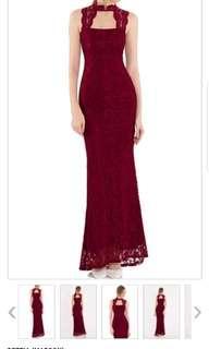 Elegant dinner long dress- Deztia (maroon)