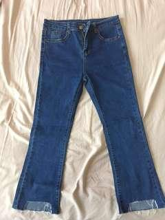 FREE POSTAGE Blue Frayed-cuffs Ankle Length Jeans #MakeSpaceforLove