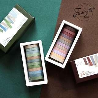 [PO] 12 Roll Plain Washi Tape Set