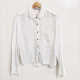 ZARA White Long-sleeved Polo