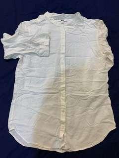 🚚 「3件500」Uniqlo 圓領襯衫 白色