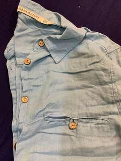 🚚 「3件500」Zara 淺丹寧色 長款休閒襯衫