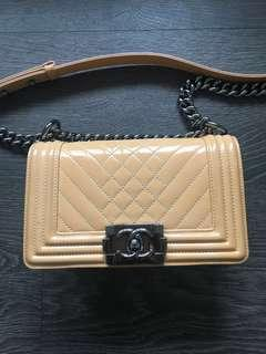 100% Authentic Chanel Small Boy Bag Chevron Stitch Quilt Patent Pink Nude
