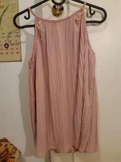 Korea pink pleated top