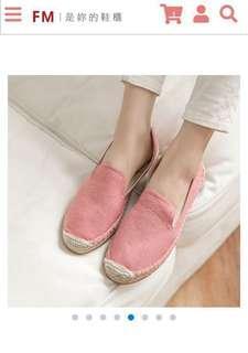 🚚 韓-粉色素面水洗布草編懶人包鞋