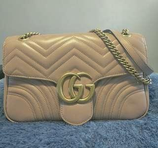 Dust Pink GG Marmont medium matelassé shoulder bag