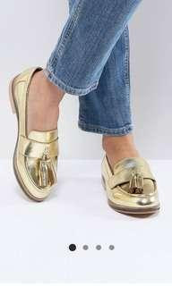 BN ASOS Mogul Leather Loafers Shoes in gold