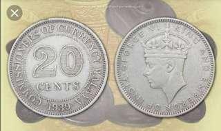 Malysian old coin 1939