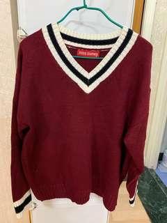 棗紅色學院風V領針織毛衣