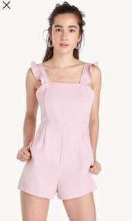 🚚 Baby Pink Ruffle Strap Romper