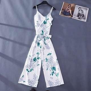 Floral Jumpsuit - White Green