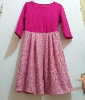 Dress korea vintage retro brokat pink impor