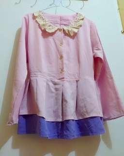 Peplum blouse atasan korea vintage impor