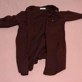 🚚 [Softly vintage]古著酒紅色襯衫