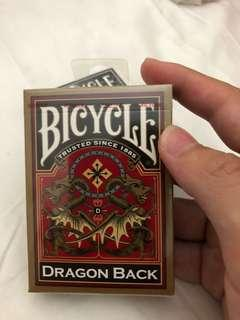🚚 Bicycle Dragon Back Deck Gold Colour
