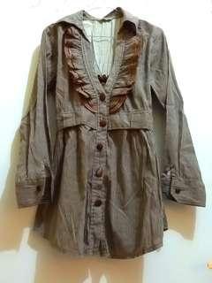 Dress korea vintage katun impor