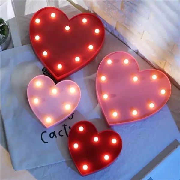 3D Heart Marquee Light Decorative Prop, Everything Else on Carousell