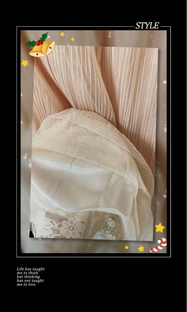 日本🇯🇵帶回~粉橘色網紗紗裙 蕾絲 內裏 滑布 彈性