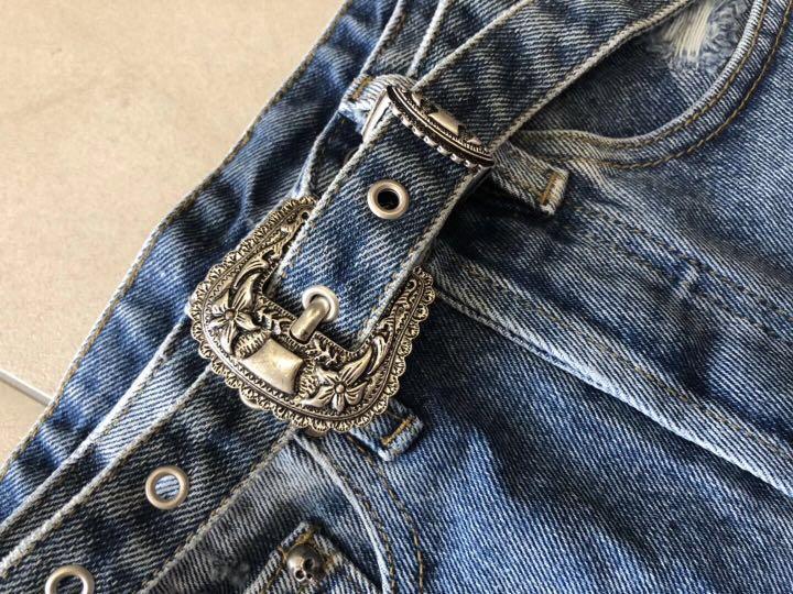 兩色 法國 The Kooples 配腰帶土耳其高腰A字兩色牛仔短褲
