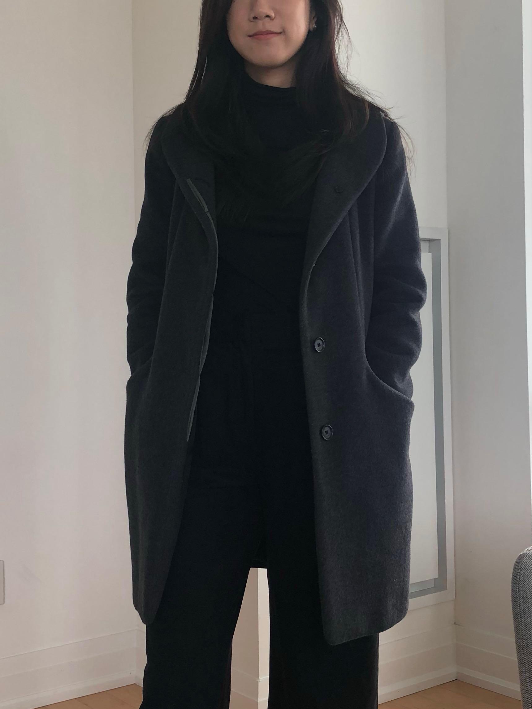 aritzia cocoon coat dark grey