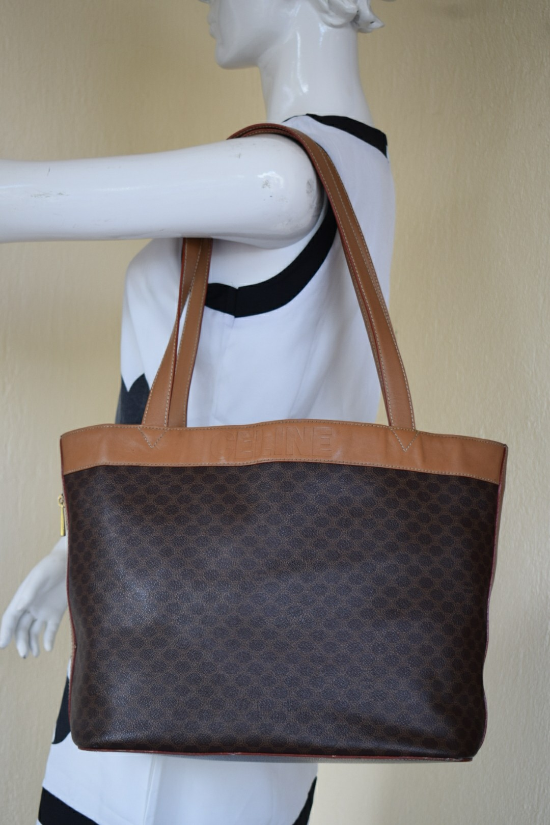 d14f2960d4 Authentic Celine Macadam Monogram Shoppers Tote Bag
