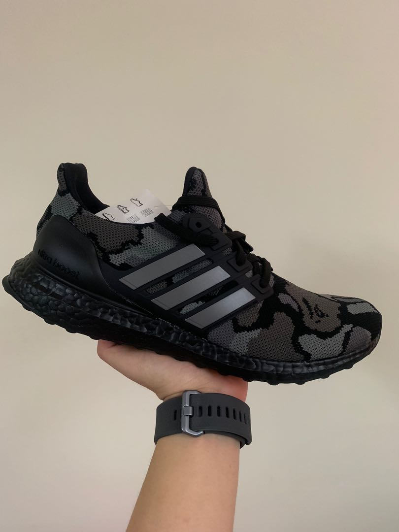79fecdc6a Bape x Adidas Ultraboost 4.0 Camo Black, Men's Fashion, Footwear, Sneakers  on Carousell
