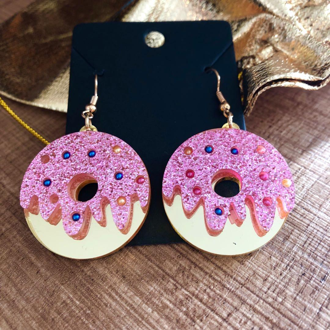 Brand new sparkling donut glazed dangling earrings colourful and cute
