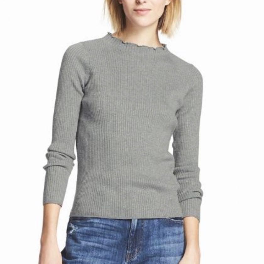6010dc42eab2 Brand new Uniqlo grey shiny ribbed frilled neck sweater, Women's ...