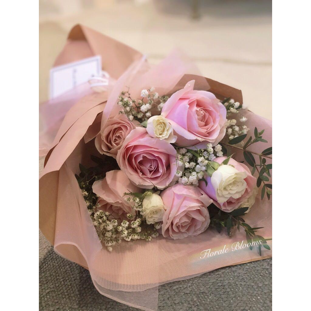 Flower Bouquet Valentine S Day Pink Roses Gardening Flowers Bouquets On Carousell