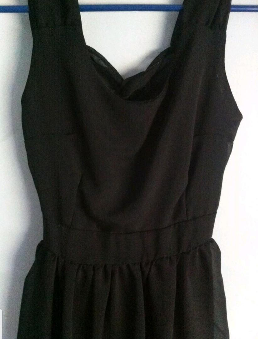 Little Black Dress Cut Out Chiffon Cocktail Tulip XS 6-8
