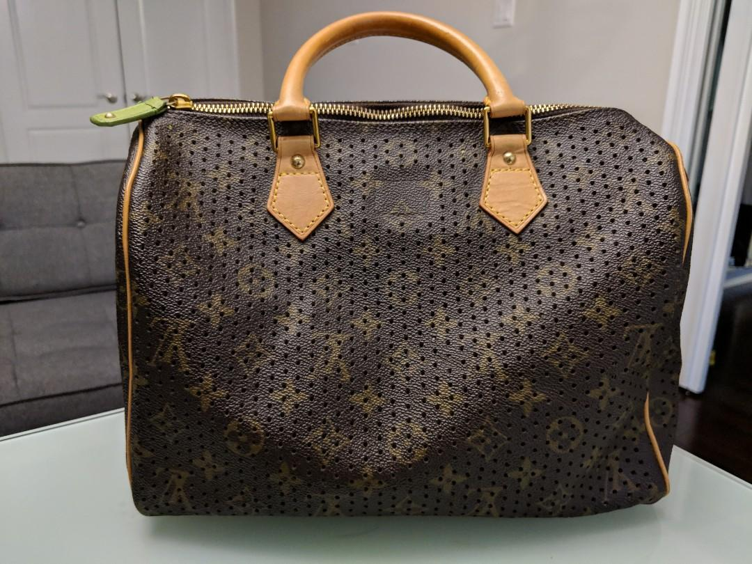 Louis Vuitton Speedy 30 Perforated Green LV leather bag