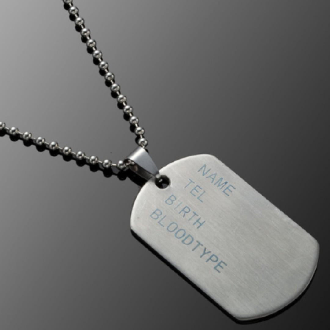 Mens Military Stainless Steel Dog Tags Chain Pendant