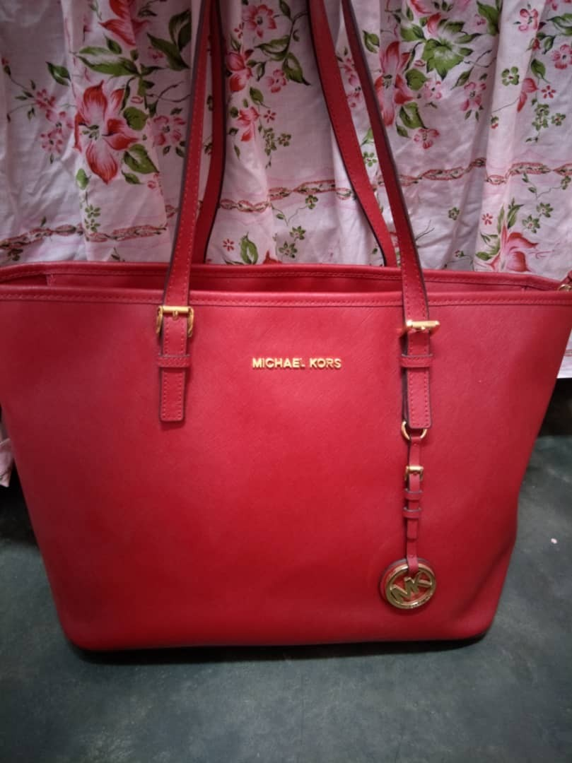 68e7260f4d14 Michael Kors Bag Voyager Medium Crossgrain Leather Tote Red, Luxury ...